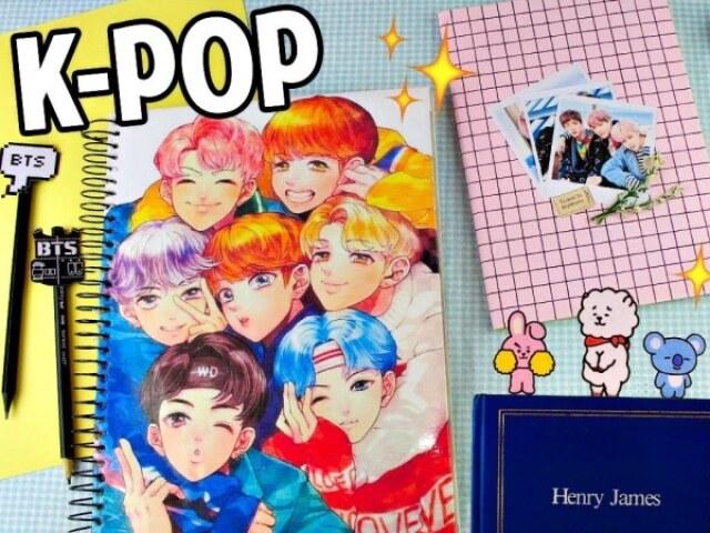 Monte seu material escolar (versão k-pop)
